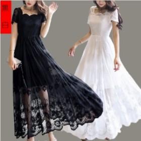 パーティードレス ロング ワンピース おしゃれ フォーマル お呼ばれ 花無地レッド 2色ブラック・ホワイトドレス 大きいサイズ
