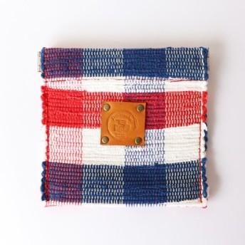 【裂き織】バネグチ小物入れ トリコロールチェック 手織り