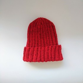 リブ編みのコットンニット帽