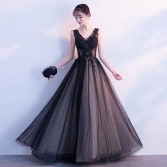 2018新作 ブライズメイド ノースリーブドレス ロング丈Vネック 結婚式ワンピース フォーマル お呼ばれ ブラックドレス フォーマル