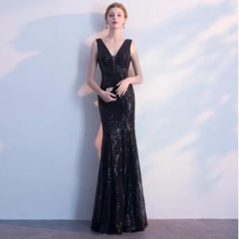 披露宴ドレスお呼ばれロングドレスオシャレレディースドレスパーティードレスレースAライン発表会ドレス袖なし上品