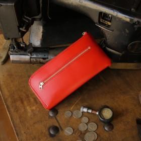 【送料無料】永久無料保証の新進工房 L字ファスナー 薄い長財布 フランスのデュプイ社ボックスカーフ 赤