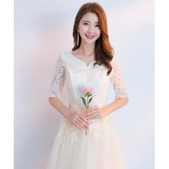 ドレス パーティードレス 結婚式 ワンピース Aライン ベアトップ ロング 安い 花嫁 ウェディング