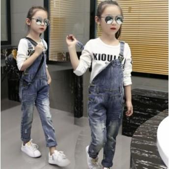 子供 キッズ サロペットキッズ ジュニア 男の子 女の子 ダメージ デニムパンツ オーバーオール ジーンズ ロンパース可愛い おしゃれ