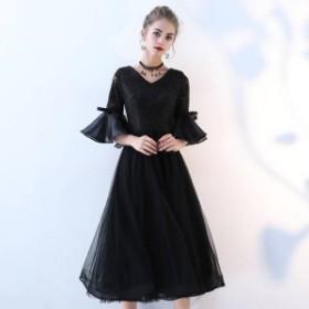 2018新作 レディース高級上質ドレスお洒落な黒色レースロングドレス結婚式 二次会 披露宴 パーティードレス大きさサイズあり BL589