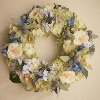 ブルーの小花のガーデンリース M