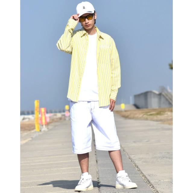 シャツ - Third enterprise ストライプシャツ メンズ 長袖 シャツ 大きいサイズ 綿麻 春 夏 b系 ファッション