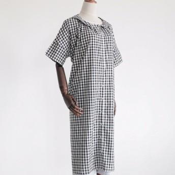 ワンピース コットン スカート 綿麻 カーティガン ゆったり ふんわり ブラック ロング丈 マタニティドレス 003