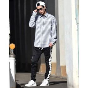 シャツ - Third enterprise ストライプシャツ メンズ 長袖シャツ 大きいサイズ 春 夏 b系 ファッション