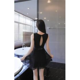 バックシャン レース ノースリーブ ドレス ワンピース ブラック ホワイト 結婚式 お呼ばれ 二次会 韓国 20代 30代 40代