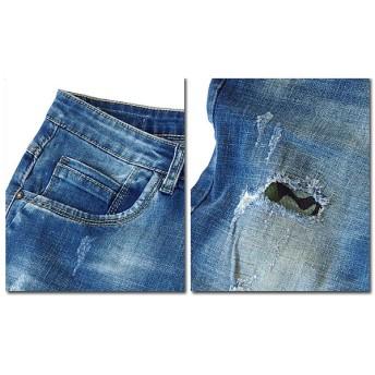 ショートパンツ - EVERSOUL ショートパンツ デニム ショーツ メンズ デニムショートパンツ ハーフパンツ 五分丈 5分丈 ブルー ダメージ カモフラ 迷彩 厚手 ウォッシュ