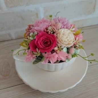 ピンクのお花のティーカップアレンジメント