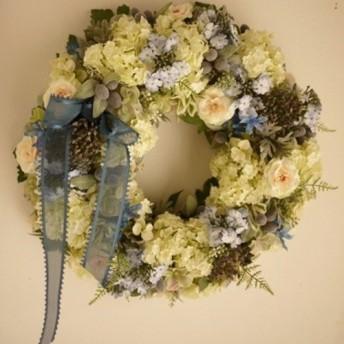 ブルーの小花のガーデンリース L