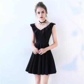2018新作 レディース高級上質ドレスマーメイド黒色ショートドレス結婚式 二次会 披露宴 パーティードレス大きさサイズあり BL609