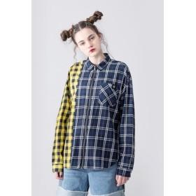 ニュートラルチェック柄のジッパーシャツ