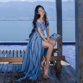 リゾートドレス ビーチドレス サマードレス ストライプ シャツワンピ ロング丈 きちんと感 大人可愛い オフショル drgz1850