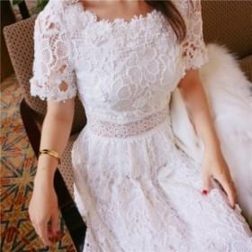 ワンピース ミモレ丈 半袖 ホワイト ハイウエスト ウエストマーク かぎ針編み レース模様 可愛い レディース drgz1620