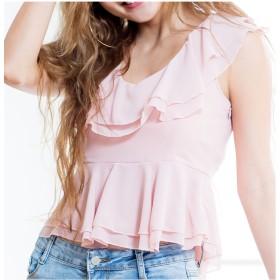 カットソー - Growing Rich [春夏][トップス]可愛さも色気も欲しい☆いい女が見え隠れする甘sexyなフリルペプラムシフォントップス[170354][レディース肩開き フレアー フリル セクシー 大きいサイズ 韓国ファッション ギャル キャバ ペプラム シャツ ブラ