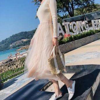 ワンピース ロング丈 チュール フェミニン 大人可愛い デートコーデ 春服 トレンド レディース 海外ファッション drgz1619
