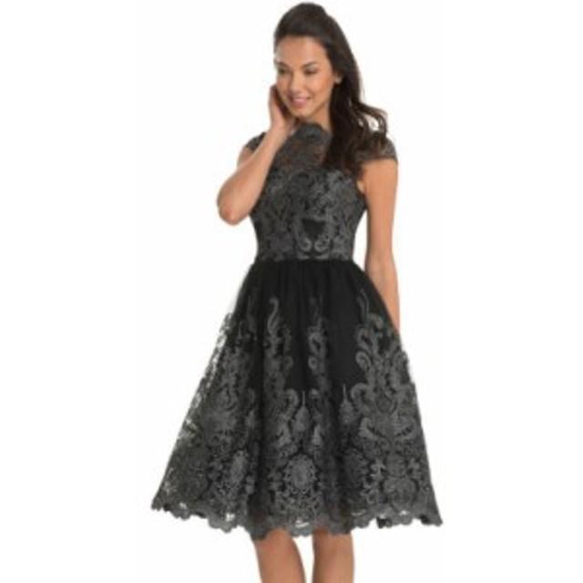 レディース ワンピース レース 刺繍 フレア レトロ クラシカル パーティー ドレス ひざ丈 半袖 ピュアブラック