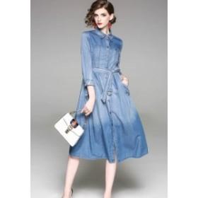 レディース ワンピース デニム フレア ウエストベルト カジュアル ドレス ひざ丈 長袖 ブルー