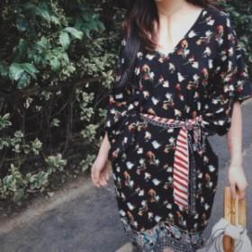 リゾートドレス ビーチドレス サマードレス ひざ丈 ウエストマーク リボン Vネック ガーリー エスニック drgz1856