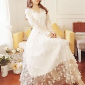 ロングドレス 天使のような 春ガーリー レースワンピース g0011