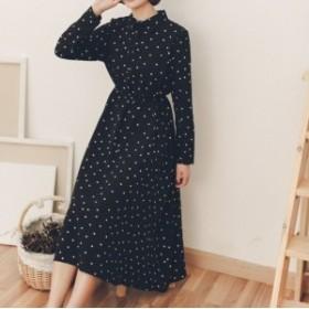 【新作入荷&SALE!】ドット柄★シャツワンピース フィッシュテールスカート a0117