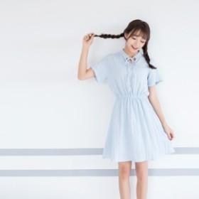【2018春夏新作】ボウタイ★ウエスト切り替えワンピース