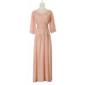 レディース ワンピース シフォン フレア ギャザー ウエストリボン パーティー ドレス  ロング 7分丈袖 ピンク