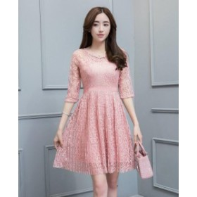 レディース ワンピース レース 刺繍 プリーツ フレア シースルー パーティー ドレス ひざ丈 7分袖 ピンク