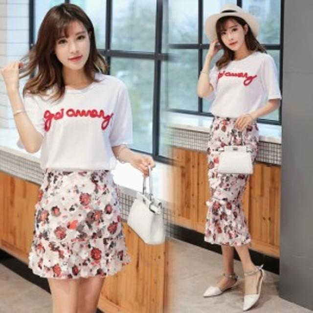 fd5f2f13ec9 2点セット 2ピースセット Tシャツ 花柄 スカート ショート ミニ フレア ミモレ丈