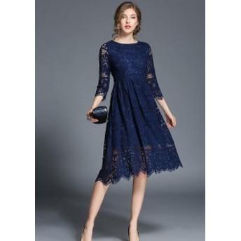 レディース ワンピース レース 刺繍 花柄 フレア ヴィンテージ ひざ丈 パーティー ドレス 7分袖 ブルー