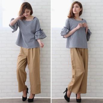 パンツ・ズボン全般 - Petit Fleur バック レースアップ & ダブル ボタン ハイウエスト ツイル ワイド パンツ (全5カラー)