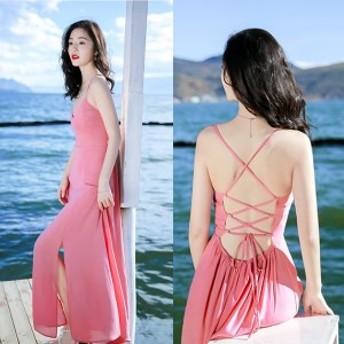 キャミワンピース Aライン リゾート 背中開き ガーリー シフォンワンピース マキシドレス ちょい肌みせワンピ ピンク さくら色