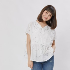 Open Collar Relax Top / White with black dots