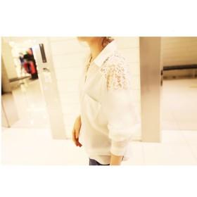シャツ - tiara トップス レディース ファッション ブラック ホワイト 長袖 レース 肩レース 春 秋 シック 可愛い きれい 夏ウエストシェイプ シャツ 前開き ボタン 襟 ポケット おしゃれ かっこいい 大人韓国 韓国ファッション