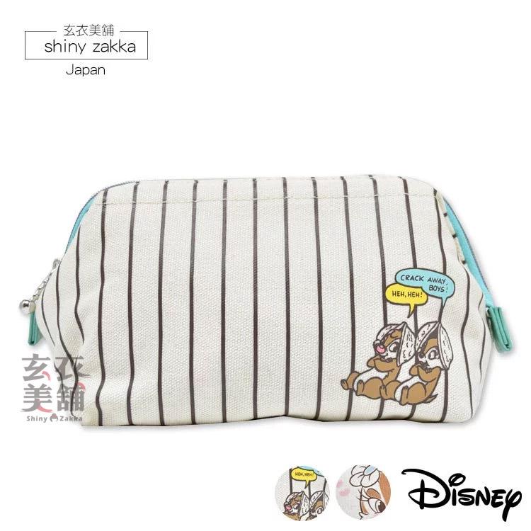 收納袋-迪士尼Disney 奇奇蒂蒂硬邊收納袋/筆袋-條紋-玄衣美舖
