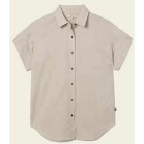 AIGLE レディース レディース コットンリネン リラックスシルエットシャツ ZCF014J LIGHT SAND (033) シャツ・ポロシャツ