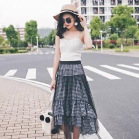 デザインスカート ブラック ギンガムチェック 裾フリル 2段フリル アシンメトリー 透け感