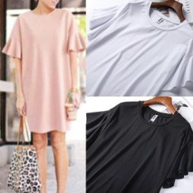 Tシャツワンピース 袖ラッフル ボリューム袖 春一番アイテム  甘すぎないフリル さくら色 ハッピーオーラ ピンク