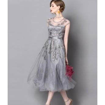 ふんわり 花柄 レース チュールスカート ワンピース ドレス 2次会 飲み会 可愛い お洒落 ドレス迷子 パーティードレス