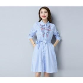 刺繍 ストライプ シャツワンピ ブルー ブラック ワンピース ドレス パーティ リゾート 二次会 きれいめ 20代30代40代 大きい
