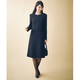 トールサイズ ノーカラーアンサンブル(ジャケット+半袖ワンピース) 【高身長・長身】(ブラックフォーマル),tall