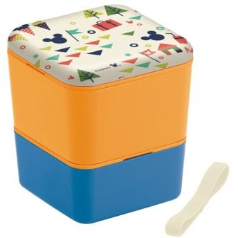 ミッキーマウス 弁当箱 2段 / シンプルランチボックス 角型2段 メラミン製蓋 600ml Mickey Mouse Vacation バケーション