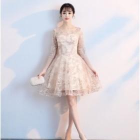 ドレス ひざ丈 フレア 結婚式 披露宴 2次会 大きいサイズ #1595