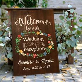 【marry掲載 】海外風 フラワー手描きウェルカムボード/結婚式ウェディング