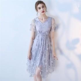 パーティードレス 結婚式ドレス ウエディングドレス 袖あり レース 刺繍 着痩せ 大人 上品 可愛い お呼ばれ 食事会 二次会 披露宴