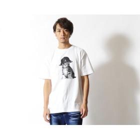 Tシャツ - LIVERTINEAGE KANGOL REWARD HAT CATプリント半袖Tシャツ