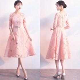 七分袖 ミディ丈 フレアスカート パステルカラー 幾何学模様 結婚式 お呼ばれ パーティー 上品 エレガント ドレス ワンピース